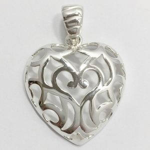 Vtg Milor Sterling Silver Heart Filigree Pendant